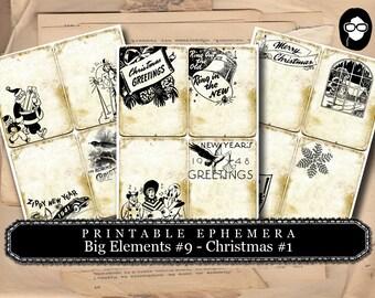 Ephemera Kit - Big Elements #9 Christmas #1 - 3 Page Instant Download -  christmas clip art, clipart christmas, digital journal card