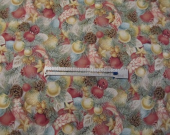 Fabric 3 yards 30 inches Pinn Boughs Pine Cones Christmas Ornamenst Fruit ribbons Silver Trim Unwashed Cotton