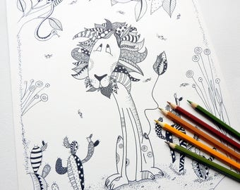 Printable Coloring Pages - Printable Coloring - Adult Coloring Page - Adult Coloring Pages - Colour Pages - Colouring Book - Lion Coloring