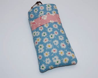 Blue Floral Quilted Eye Glasses Case with Pink Floral Stripe
