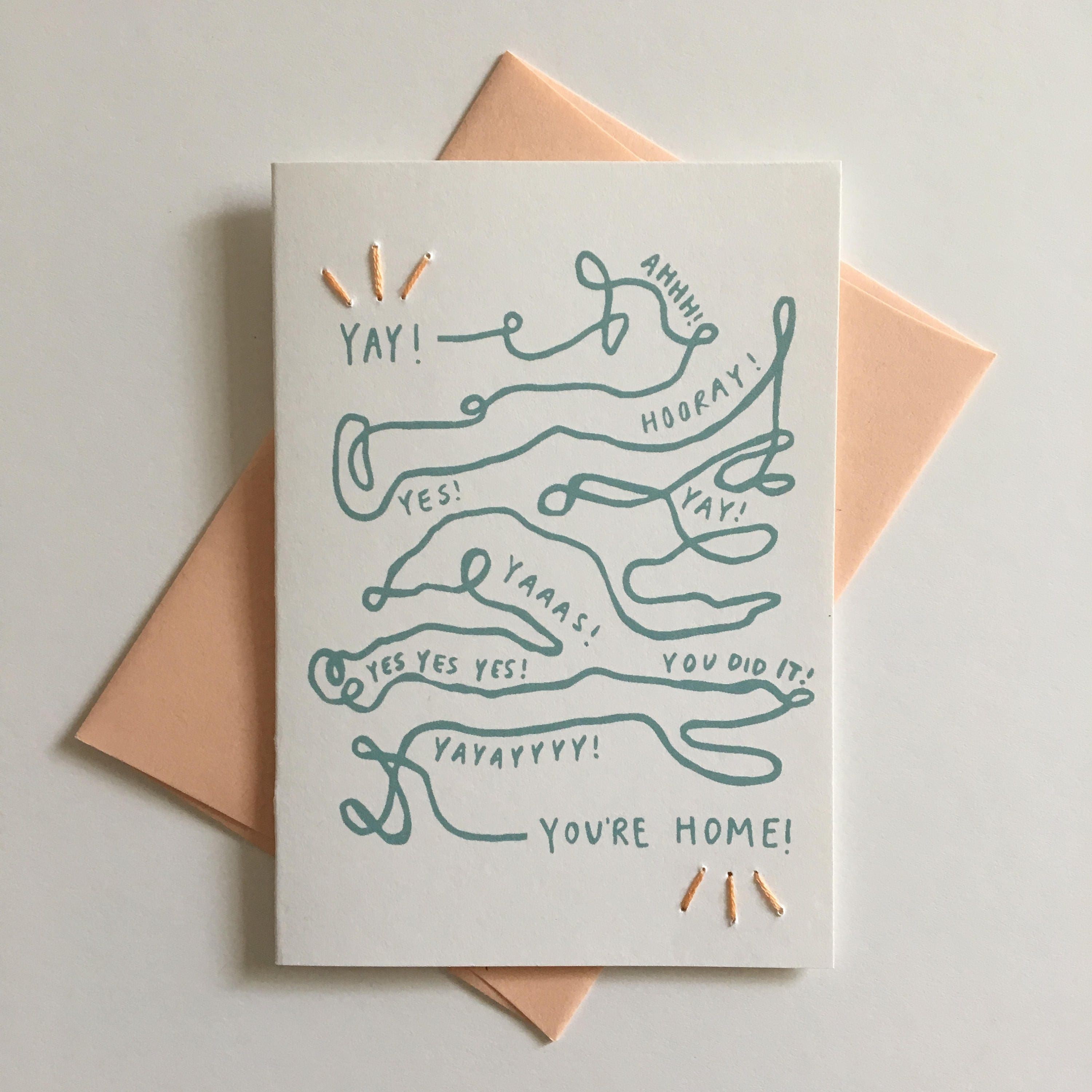 Yay youre home hand stitched greeting card miss you zoom kristyandbryce Choice Image