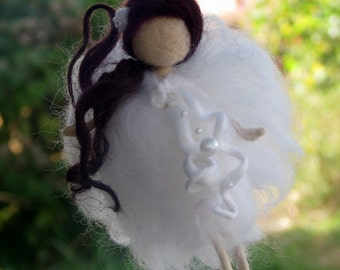 Needle felted Christmas Fairy Ornament  Waldorf inspired Home decor