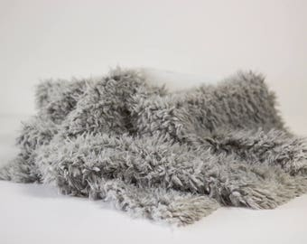 Gray Minkyak Faux Fur Photography Prop Rug Newborn Baby Toddler 27x30