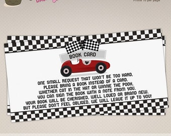 INSTANT DOWNLOAD - Racing Car Baby Shower Printable Book Card - Vintage Race Diaper Raffle