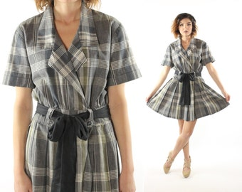 Vintage 80's Plaid Dress Short Sleeve Pleated Skirt Gray 1980s Mini Large L Shirtwaist