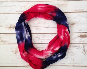 Infinity Scarf, Red, White and Blue Tie-Dye