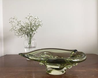 Vintage Mid Century Swedish Glass Jewelry Dish | Glass Art | Sculpture | Leaf Dish