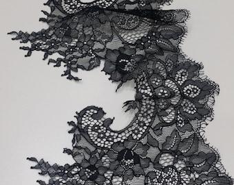 Black lace Trim, Chantilly Lace, French Lace, Wedding Lace, Scalloped lace Eyelash lace Floral Lace Lingerie Lace by the yard EVSL039C_1
