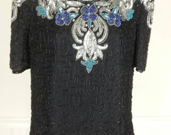 Vtg Scala beads and sequins black silk blouse top size small chest 38