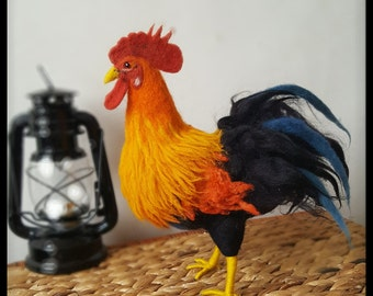 Needle felted Rooster, Fire rooster, Chinese New Year 2017, Rooster soft sculpture