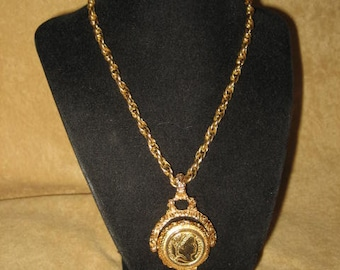 Perfume Locket Necklace Gold Tone Chain Vintage