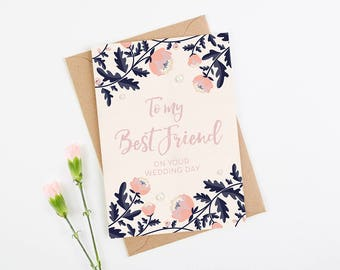Best Friend Wedding Day Card Blush and Navy Floral