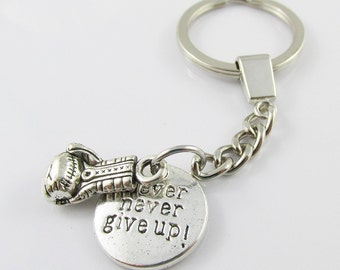 Boxing Glove Fighting Never Never Give Up Keychain Keyring Great Gift