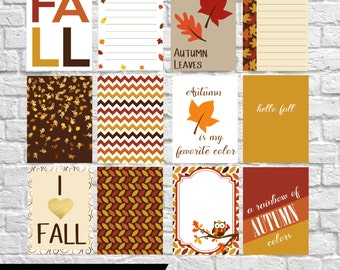 Fall Journaling Cards, Project Life Inspired Printable, Simple Stories, Digital Scrapbooking, Pocket Scrapbooking, Planner Printable