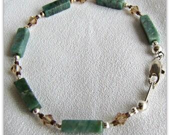 African Jade Bracelet,  Gemstone beaded bracelet, Green Jade Bracelet, 7.5 inches, Lobster clasp, Crystal accents, Ready to ship, Item #931