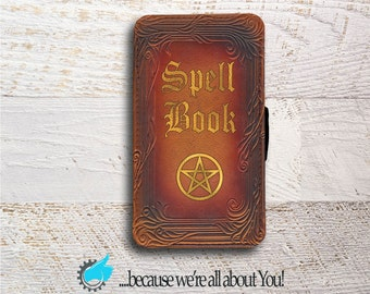 HTC ONE M8 M9 M10 or LG G5  Wallet Phone Case Spell Book Phone Case Wallet Phone Cover Can be Customized with Your Name Quote or Own Spell !