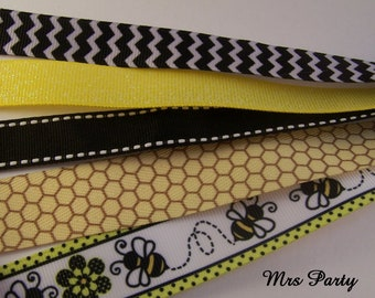 5 Yards Variety Bee Ribbon BEE Baby Shower Ribbon Bee Ribbon What will it Bee Baby Shower Ribbon Yellow and Black Ribbon Baby Shower Ribbon
