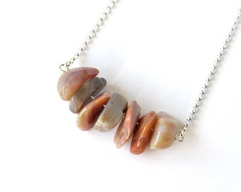 Petrified Wood Necklace Natural Arizona AZ Agatized Wood Agate Tan Gray Taupe Brown Mauve Large Chunky Nuggets Chips Natural Stone #18581