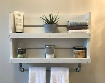 Superbe Bathroom Shelf With Towel Bar, White Distressed Wood Shelf With Galvanized  Pipe Towel Bar, Wall Mounted Bathroom Storage, Shelf, Industrial