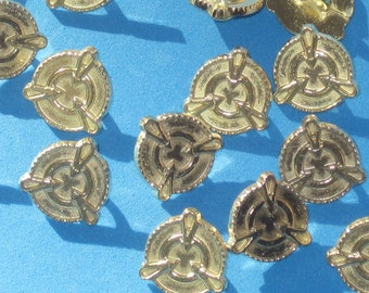 FANCY Set 15 Vintage New METAL Buttons Soft Yellow Gold tone