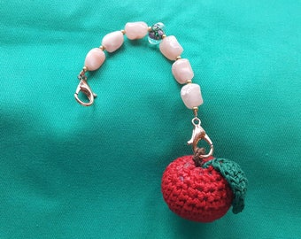 Beaded Scissor Fob with Delicious Cherry Pincushion - Pretty 'n Pink