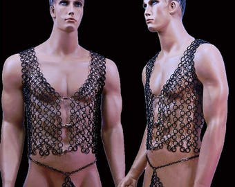 Chain vest costume Gothic elastic size selectable BDSM fetish harness