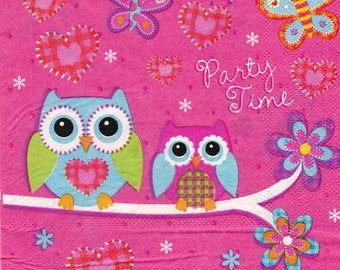 071 two owls on the branch pattern X 1 4 X 4 pattern lunch size paper towel