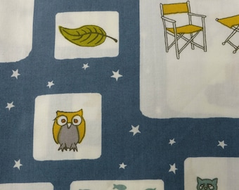 1/2 Yard Organic Cotton Fabric - Birch Fabrics Camp Sur 3, Campout blocks Poplin