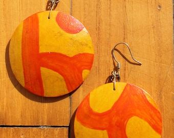 Orecchini di zucca/Gourd Earrings Abstract Design Collection 2018 (Yellow/orange) (tondo/round shape)