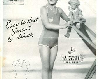 Ladyship 365 Vintage Knitting Pattern Child Sun and Swim Suit - 5 to 8 Years