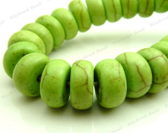 10x5mm Lime Green Magnesite Matrix Gemstone Beads - 15.5 Inch Strand - Flat Round, Rondelles, Donuts, Spacers, Heishi - BE5