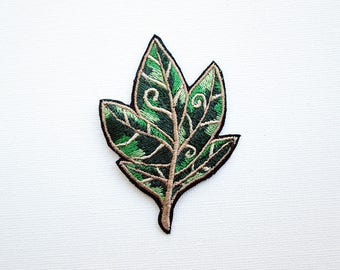 Leaf iron-on embroidered patch. Leaf patches, embroidered patch, embroidered  leaf,