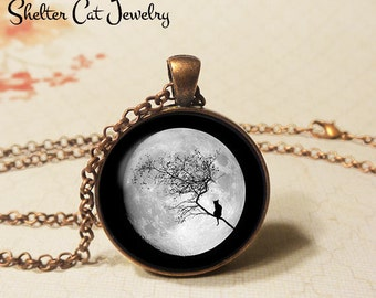 "Moon Cat Necklace - 1-1/4"" Circle Pendant or Key Ring - Handmade Wearable Art Photo - Halloween Costume Trick Or Treat Spooky Holiday Gift"