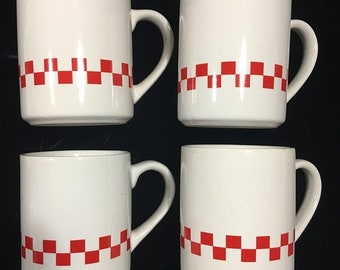 Red and white coffee cups