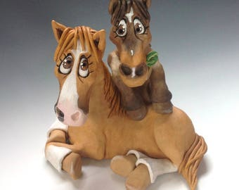 Commissioned Two Horse Sculpture Ceramic - Personalised for your Horses or Donkeys