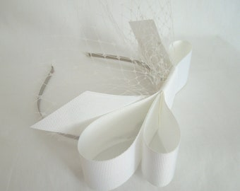 White Exaggerated Bow with Mini Veil on Headband