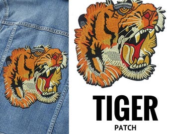 BIG Tiger Head Patch Applique, Embroidered Tiger Patch, Animal Head Badge