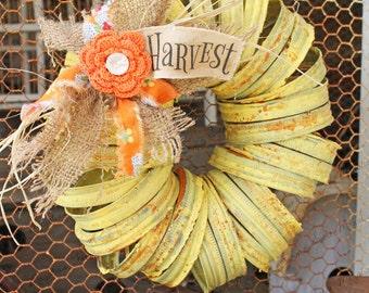 Wreath - Canning Jar Lids - Rustic Fall Autumn Thanksgiving Harvest Farmhouse Style - Garden or Door Decor - by: Sweet Magnolias Farm