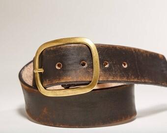 Vintage Distressed Leather Snap Belt, Brass Buckle -  Handmade in USA Groomsmen Wedding