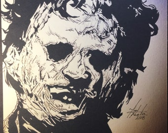 Texas Chainsaw Massacre Leatherface 8x10  Artist Signed Print Tony Keaton