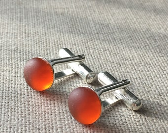Amber Vintage Sea Glass Sterling Silver Cufflinks. English Sea Glass Cuff Links. Gift for him. Wedding Cufflinks. Matching Studs Available