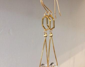Gemstone Earrings - Hexagon and Gemstone Gold Earrings - Gemstone Gold Dangles - Gemstone Drops