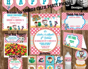 PRINTABLE PARTY PACK Personalized Sheriff Callie Includes Invite Party Banner Food Tent Thank You Cupcake Toppers Wrappers Favor Tag