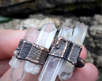 Quartz Point Ring | Electroformed Ring | Double Quartz Point | Copper Jewelry