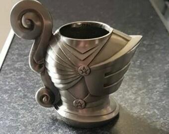 Vintage pewter medieval knight's helmet goblet, vintage pewter collectable whiskey mug,