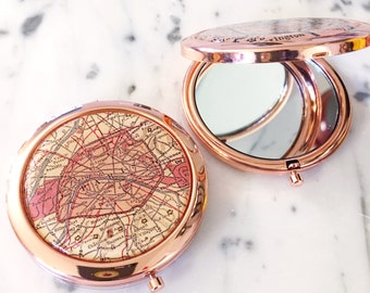Rose Gold Vintage Paris Map Mirror Compact - Wanderlust - Travel - Compact Mirror - Makeup Mirror - Purse Mirror - Bridesmaid Gift -