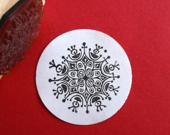 Modern Snowflake Mandala Rubber Stamp - Handmade by BlossomStamps