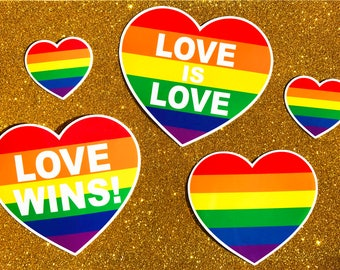 Gay Pride Sticker Pack - 5 Stickers - LGBT Sticker, Vinyl Stickers, Laptop Stickers, Rainbow Lesbian Gift, Lesbian Valentine Gay Valentine