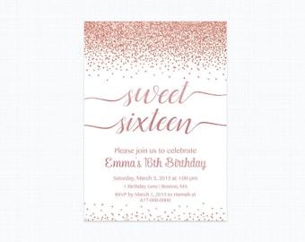 Sweet 16 Birthday Invitation, Rose Gold Sweet Sixteen Birthday Invitation,    240 Printable