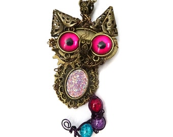 Cheshire cat steampunk necklace